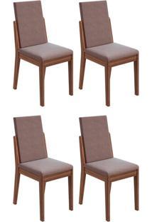Conjunto Com 4 Cadeiras Lira Imbuia E Rose