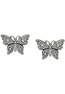 Gucci Par De Brincos 'Butterfly' Com Cristais - Metálico