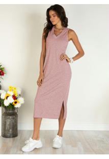 Vestido Rosê Midi Com Fendas Laterais