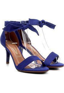 Sandália Vizzano Salto Médio Com Amarração Suede Feminina - Feminino-Azul Escuro