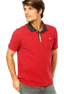 Camisa Polo M. Officer Mangas Curtas Vermelha