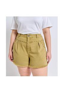 Short Boyfriend Em Sarja Com Barra Desfiada E Tachas Curve & Plus Size | Ashua Curve E Plus Size | Verde | 54