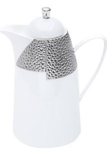 Garrafa Térmica De Porcelana- Branca & Prateada- 650Wolff