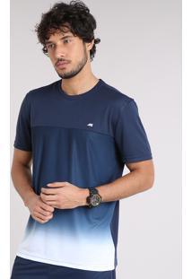 Camiseta Masculina Ace Degradê Manga Curta Gola Careca Azul Marinho