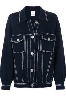 Barrie Jaqueta Jeans Com Detalhe De Costura - Azul