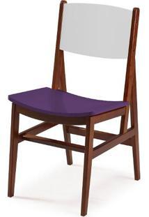 Cadeira Dumon Cor Cacau / Branco Com Roxo - 30802