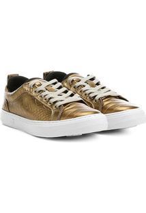 Tênis Couro Hardcore Footwear Cadarço Feminino - Feminino-Bronze