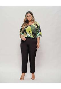 Blusa Almaria Plus Size New Umbi Decote Quadrado V
