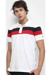 Camisa Polo Tommy Hilfiger Chest Stripe Slim Masculina - Masculino-Branco+Azul