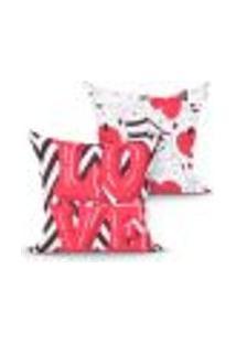 Kit Capa Almofada Love Vermelha Estampada Kit Com 2 Unidades 45Cm X 45Cm Com Zíper