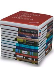 Puff Pilha De Livros Multicolorido - Madeira - Good Pufes
