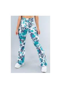 Calça Feminina Mvb Modas Flare Pantalona Suplex Folhagens