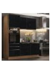 Cozinha Compacta Madesa Lux Com Armário E Balcão 5 Portas 3 Gavetas - Rustic/Preto