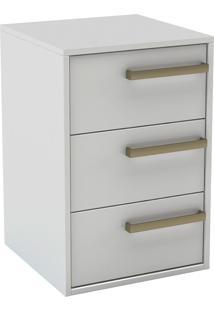 Mesa De Cabeceira Com 3 Gavetas C/ Puxador De Alça Originale-Belmax - Branco