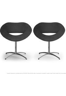 Kit 2 Cadeiras Beijo Cinza Poltronas Decorativas Com Base Giratória