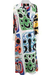 Charles Jeffrey Loverboy Painterly-Print Shirt Dress - Branco