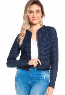 Casaqueto Ralm Tricot Tweed Azul Marinho