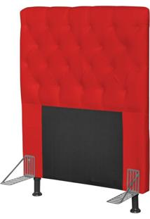Cabeceira Cama Box Solteiro 90Cm Cristal Corino Vermelho - Js Móveis