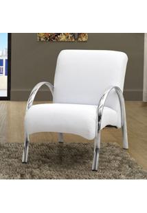 Poltrona Decorativa Polly C/Pés Em Aluminio Courino Branco
