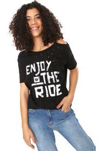 Camiseta Hang Loose Grunge Enjoy Preta