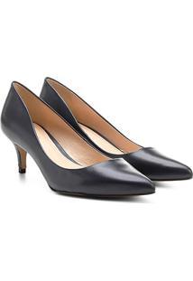 Scarpin Couro Shoestock Salto Médio Bico Fino - Feminino-Marinho