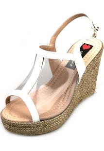 Sandália Anabela Love Shoes Alta Vinil Transparente Branca