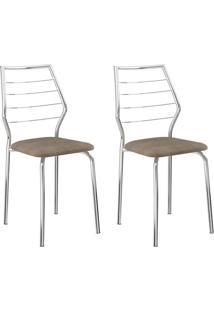 Conjunto 2 Cadeiras 1716 Casual Tecido Camurça Conhaque Cromado