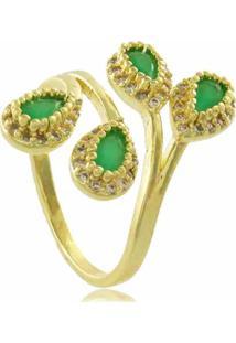 Anel Gotas Com Zircônias Verde 3Rs Semijoias Dourado