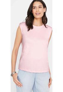 Blusa Decote Costas Com Amarração Rosa Claro