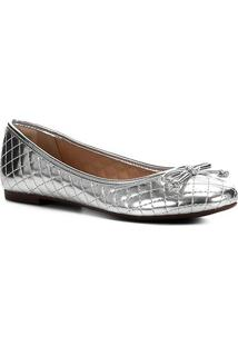 Sapatilha Shoestock Verniz Matelassê Bico Redondo Feminina - Feminino-Prata