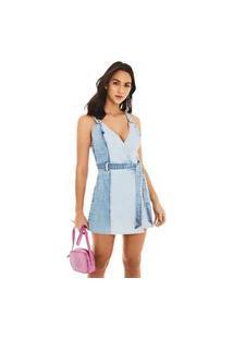 Vestido Morena Rosa Curto Decote Transpassado Composê De Tecidos Jeans