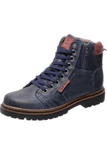 Bota Coturno Em Couro Mega Boots 6016 Azul Marinho