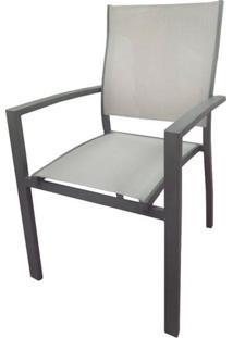 Cadeira Popis Com Bracos Tela Bege Base Amendoa - 53622 - Sun House