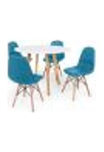 Conjunto Mesa De Jantar Laura 100Cm Branca Com 4 Cadeiras Charles Eames Botonê - Turquesa