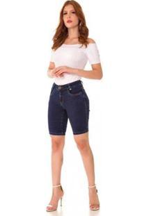 Bermuda Jeans Express Pedal Estrela Feminina - Feminino-Azul