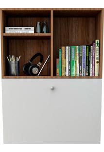 Escrivaninha Suspensa Com 1 Porta Bac3700-Appunto - Branco / Castanho