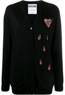 Moschino Cardigan Com Coração De Contas - Azul