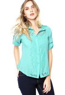 Camisa Dafiti Ontrend Renda Verde