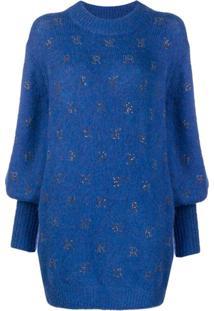 John Richmond Suéter Com Logo E Aplicações De Strass - Azul