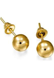 Brinco Em Ouro De Bolinha - Br15727 Casa Das Alianças Feminino - Feminino-Dourado