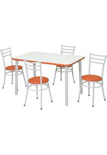 Conjunto De Mesa Com 4 Cadeiras Neuza Branco