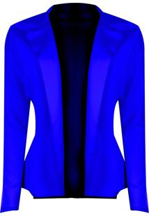 Blazer Outlet Dri Neoprene Sem Botão Detalhe Lateral Babado Azul