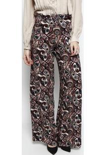 Calça Pantalona Arabescos- Nude & Bordô- Linho Finolinho Fino