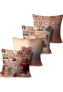 Kit Com 4 Capas Para Almofadas Decorativas Coffee Lovers 45X45Cm