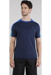 Camiseta Masculina Esportiva Ace Com Recortes Manga Curta Gola Careca Azul Marinho