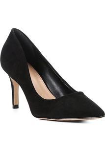 Scarpin Shoestock Nobuck Salto Médio Bico Fino - Feminino-Preto