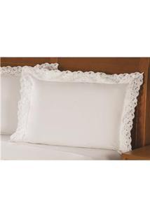 Fronha Para Travesseiro Plumasul Elegance Em Percal Com Renda 233 Fios 50 X 150 Cm – Branca