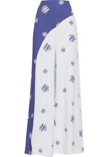 Calça Feminina Pantalona Poá Colorido - Azul