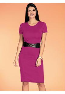 Vestido Tubinho Rosa Moda Evangélica