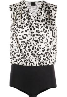 Pinko Body Ines Com Animal Print - Branco